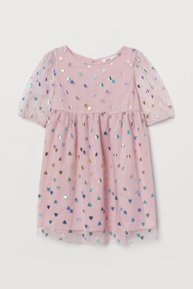 H & M - 亮感薄紗洋裝 - 粉紅色