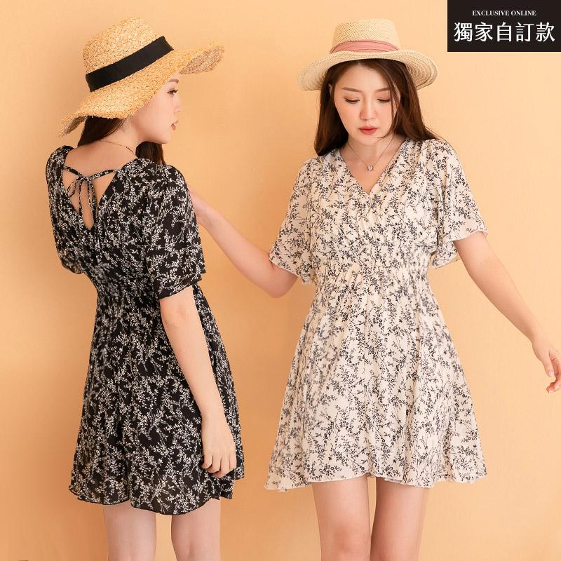 ◆PUFII-洋裝 獨家自訂款甜美V領碎花縮腰洋裝-0603 現+預 夏【CP20494】