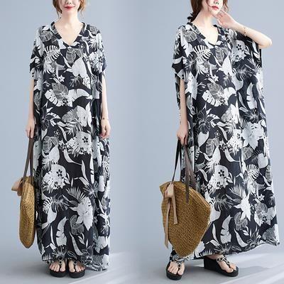 寬版洋裝長裙5102簡約V領大氣花色連身裙胖MM洋氣遮肉長袍子MB151-A 衣時尚