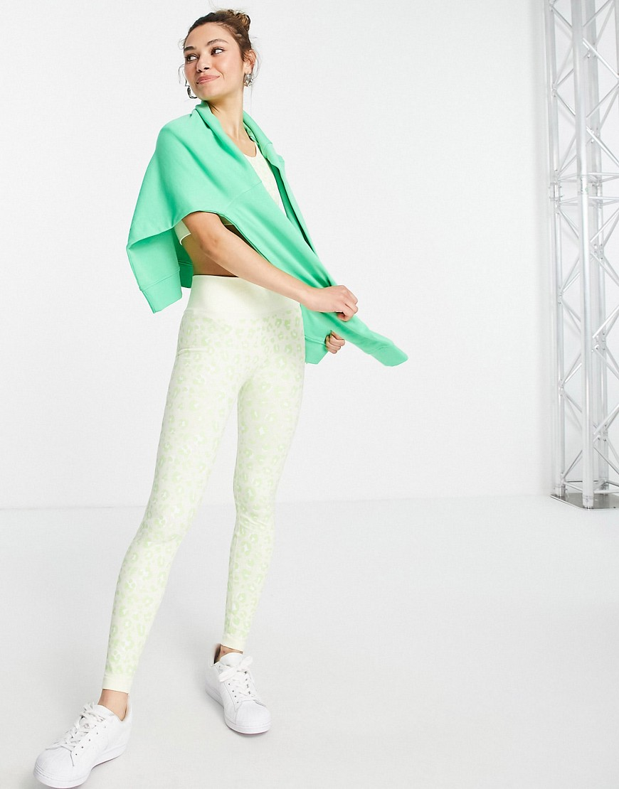 Topshop active co-ord seamless contour legging in lime leopard print-Green