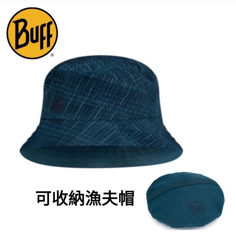西班牙BUFF中性款可收納漁夫帽-暗藍刷紋 BF122591-707防曬帽/遮陽帽)