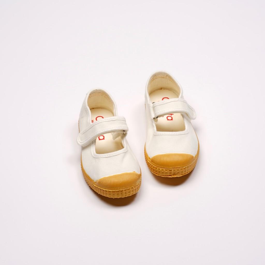 CIENTA 西班牙帆布鞋 J76997 05 白色 黃底 經典布料 童鞋