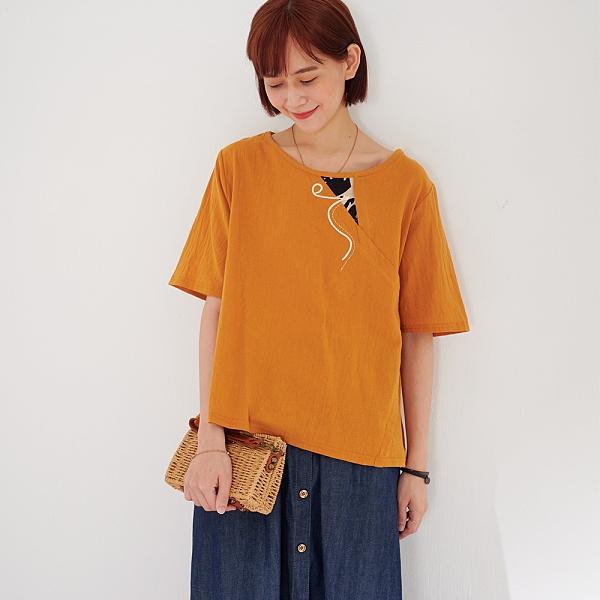 【慢。生活】文藝風拼接棉麻感上衣 9836  FREE 淺橘色