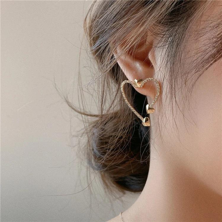 2021年新款潮韓國東大門925銀針氣質超閃愛心耳環鋯石氣質耳釘女A1034