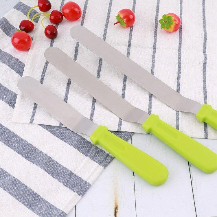 不鏽鋼奶油抹刀 6寸8寸10寸塑料手柄不鏽鋼曲吻抹平刀 烘焙工具抹