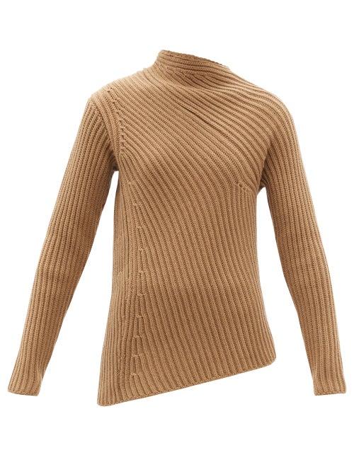Jil Sander - Asymmetric Ribbed Wool-blend Sweater - Womens - Camel