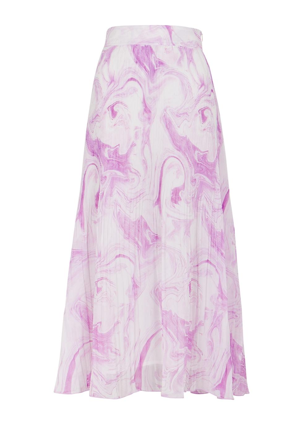 Printed pleated georgette midi skirt