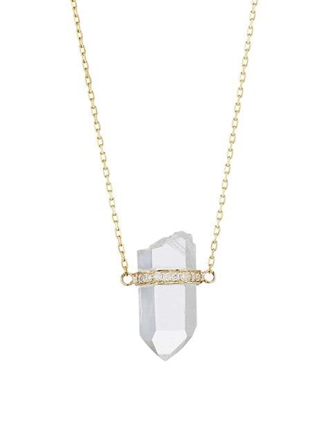 Crystalline 14K Yellow Gold, Crystal Quartz & Diamond Small Pendant Necklace