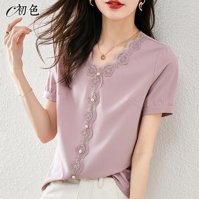初色  蕾絲花邊V領雪紡衫-粉紫色-(M-2XL可選)