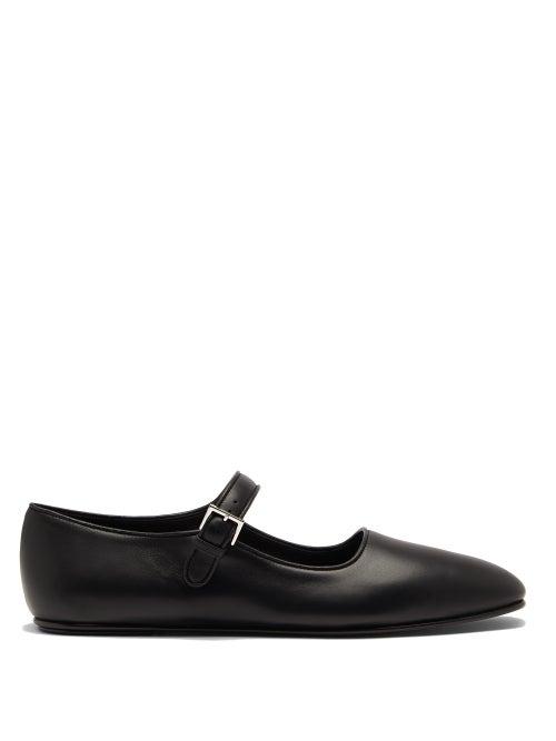 The Row - Ava Square-toe Leather Mary Jane Flats - Womens - Black