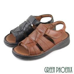 GREEN PHOENIX 台灣手工縫製幾何圖形全真皮沾黏式寬楦厚底涼鞋(男鞋)T12-12767