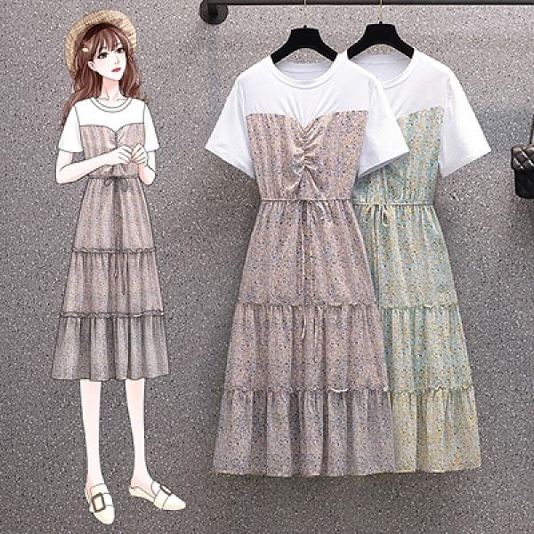 大碼洋裝TL-4XL洋氣減齡長裙女時尚百搭顯瘦修身雪紡碎花連身裙子6882MR26韓衣裳