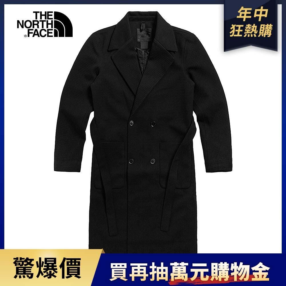 The North Face北面女款黑色腰部綁帶簡約長版外套|4QXZJK3