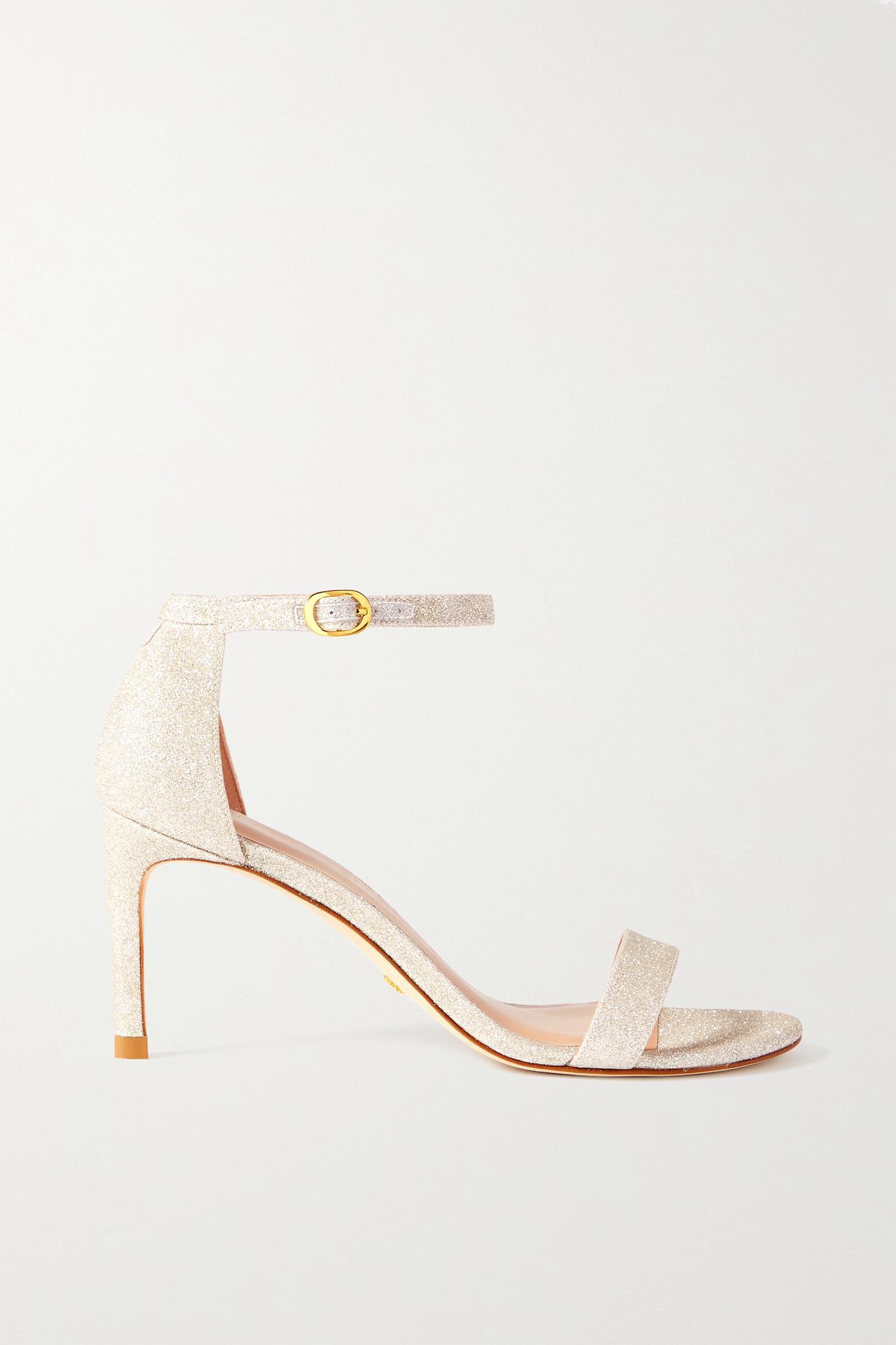 STUART WEITZMAN - Nunaked Glittered Leather Sandals - Gold - US7