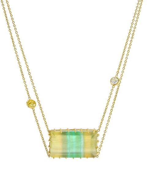 18K Yellow Gold, Diamond & Tourmaline Pendant Necklace