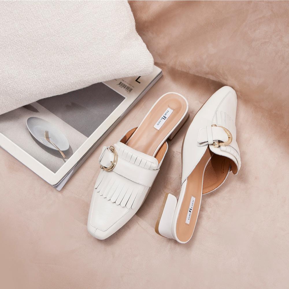 【新品】優雅小姐 2way流蘇釦帶低跟穆勒鞋  經典白 (402276)