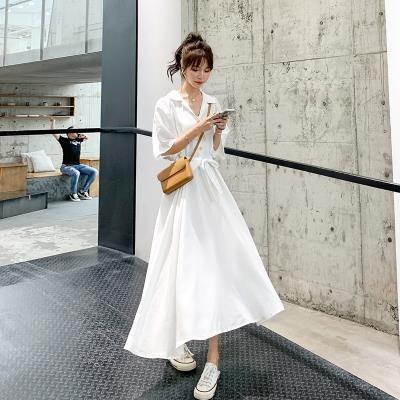 襯衫連身裙長版洋裝S-4XL長款紫色雪紡連身裙收腰顯瘦泡泡袖桔梗長裙NE261-G.衣時尚