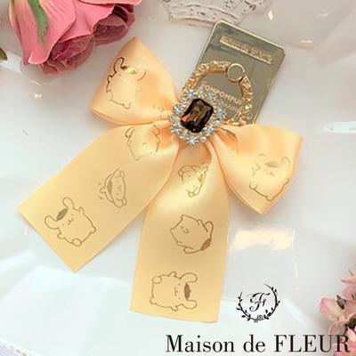 Maison de FLEUR 布丁狗緞帶水鑽手機扣環