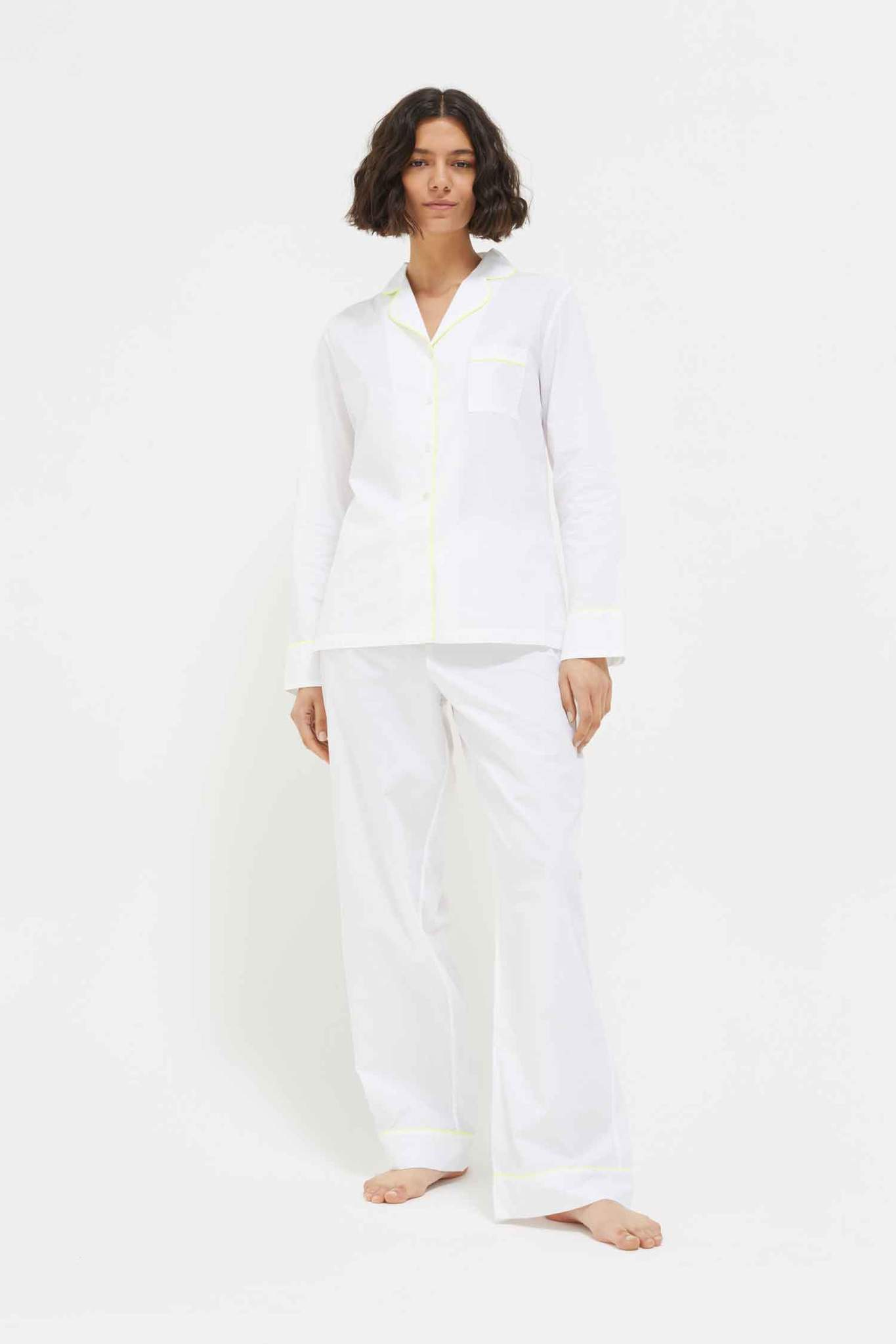 White and Yellow Cotton Pyjamas