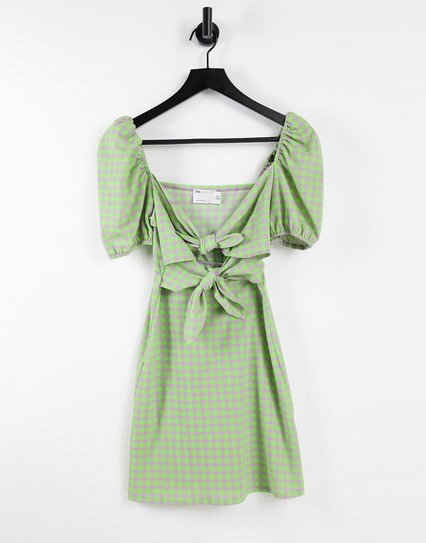 ASOS DESIGN short sleeve bow front mini dress with cut out in lilac and lime gingham-Multi