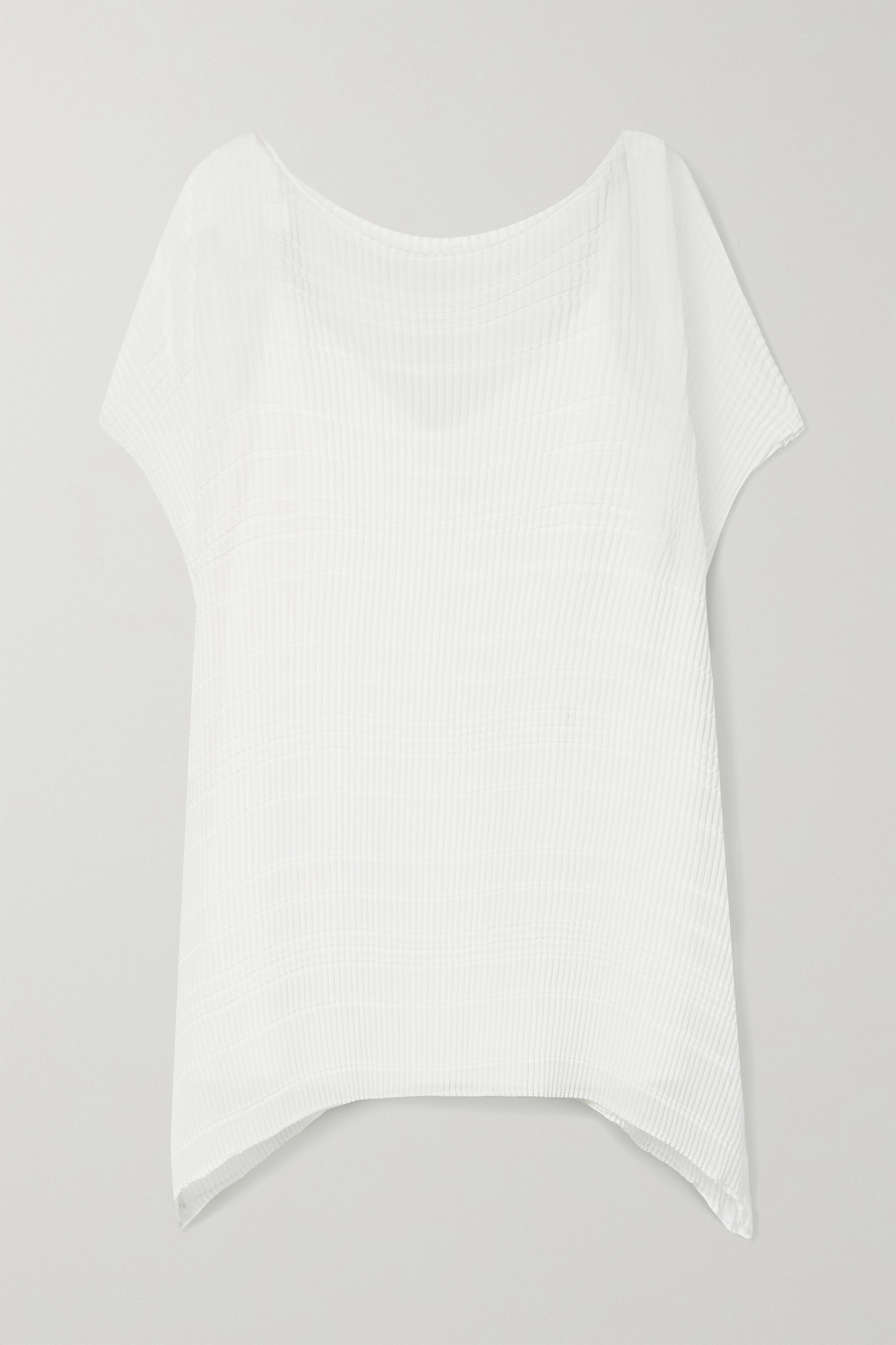 LAFAYETTE 148 - Maya Asymmetric Plissé-chiffon Blouse - White - medium