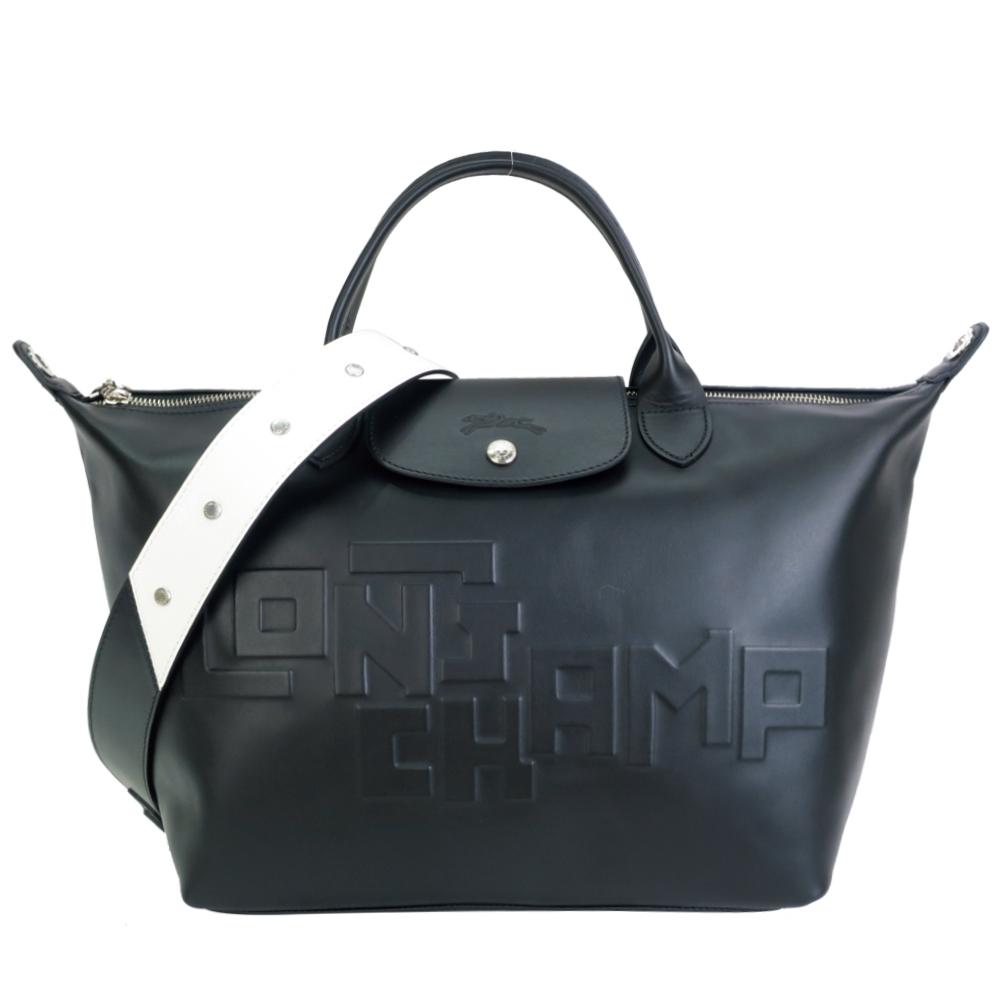 【展示品】LONGCHAMP Le Pliage Cuir LGP系列小羊皮壓印兩用水餃包(中/黑)
