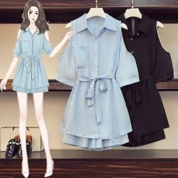 KVOLL-少女心挖肩釘珠袖型甜美短褲二件套裝L-4XL(共二色)