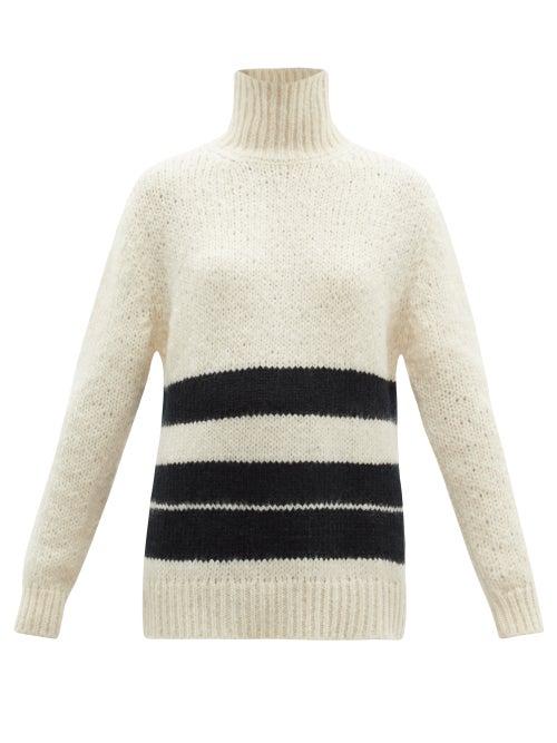 Jil Sander - High-neck Striped Mohair-blend Sweater - Womens - White Black