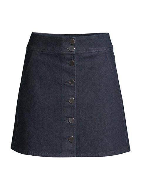 Button Denim Mini Skirt