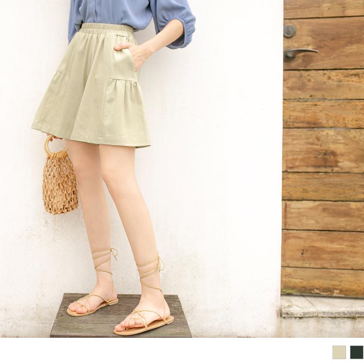 純色高含棉鬆緊腰抽皺口袋寬褲裙