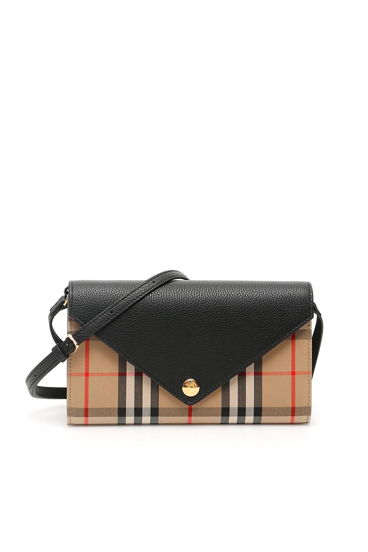 BURBERRY HANNA WALLET WITH SHOULDER STRAP OS Beige Cotton, Leather