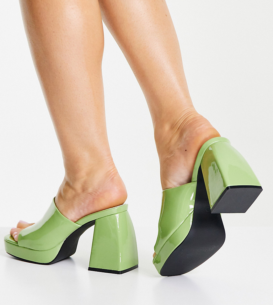 Public Desire Wide Fit Oreo heeled mules in lime patent-Green