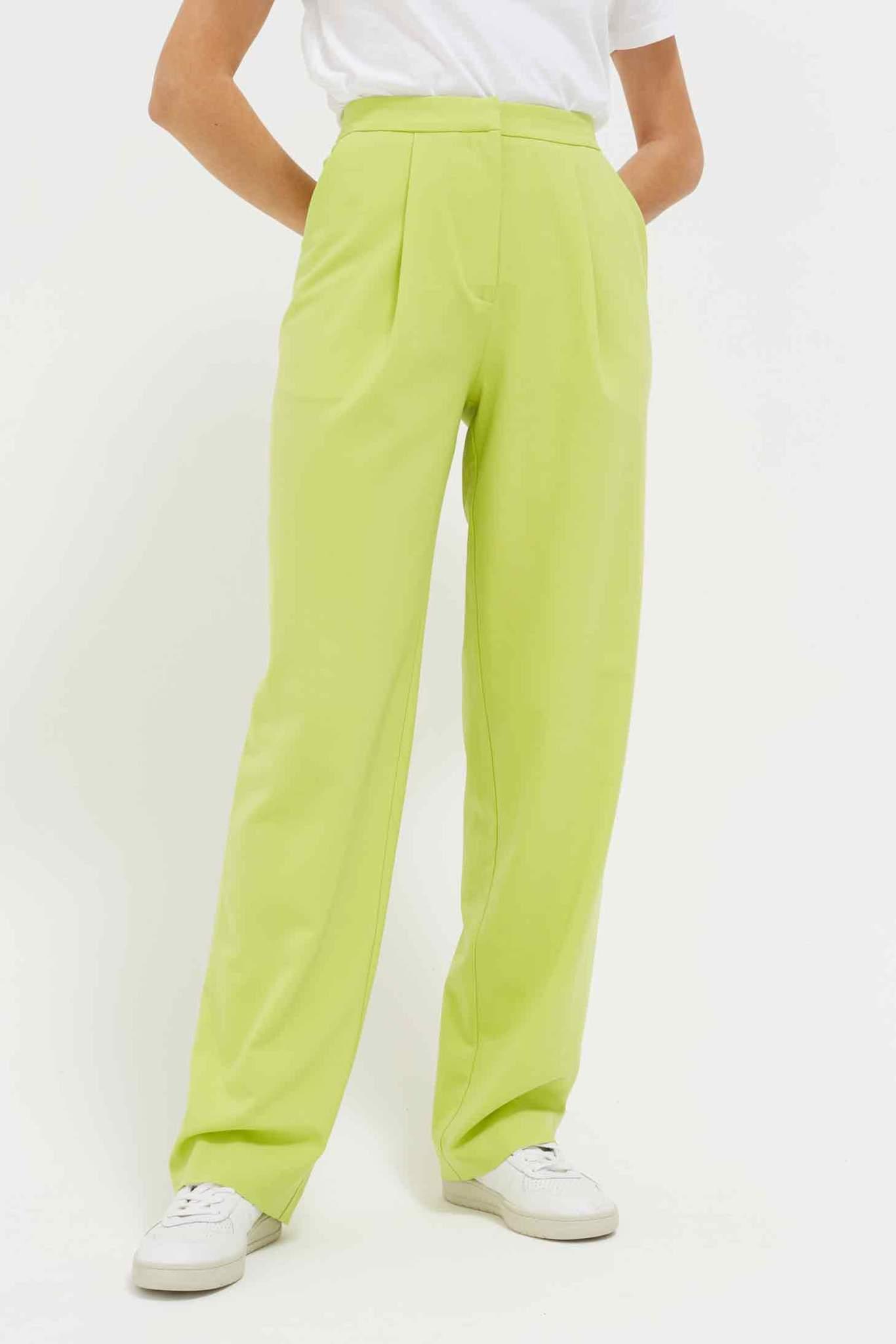 Lime Pop Wool-Twill Trousers