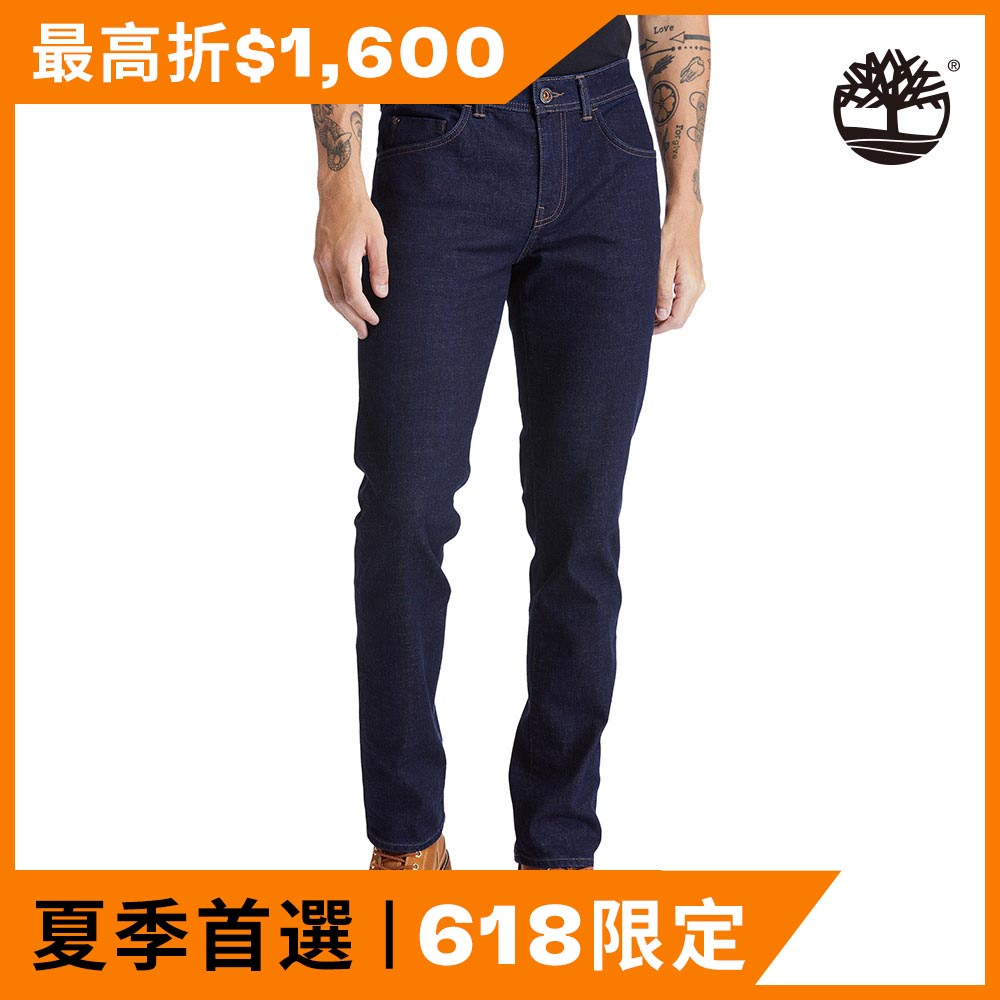 Timberland 男款水磨藍色修身牛仔褲|A2C92H87