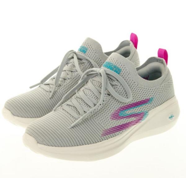 SKECHERS GORUN FAST 女款灰色運動慢跑鞋-NO.128186LGPR