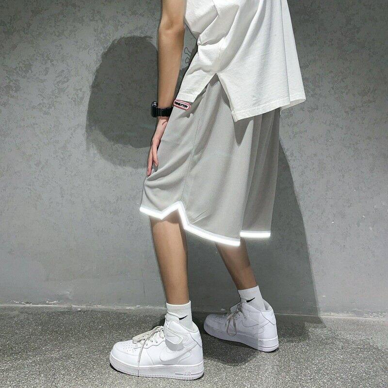 男裝休閒短褲男港風運動球褲夏季新款反光條寬鬆ins闊腿中褲