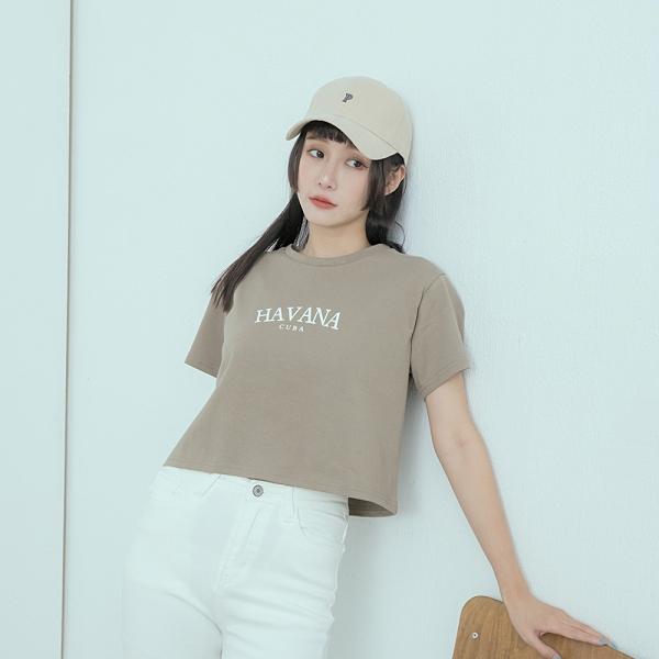 Queen Shop【01038925】潮流HAVANA印字圓領短版T 兩色售*現+預*