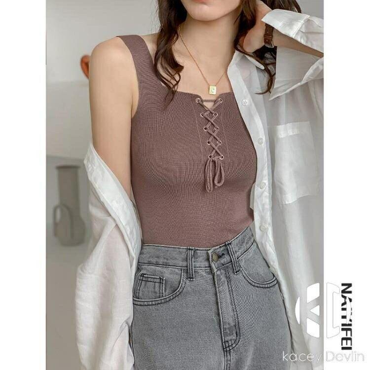 寬鬆針織系帶內搭打底無袖小吊帶背心女夏外穿大碼【聚物優品】