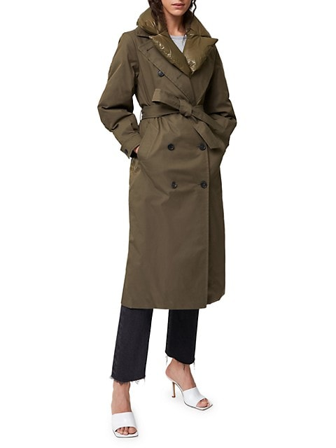 Sage Double-Breasted Down Trench Coat
