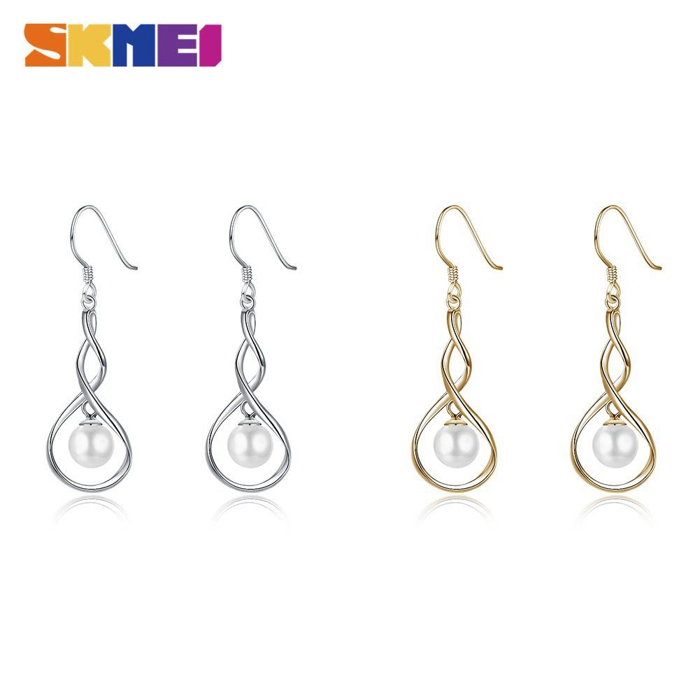 時刻美 SKMEI 爆款2色電鍍簡約圖8珍珠耳鉤S925純銀耳環PTEE009