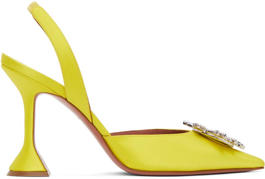 Amina Muaddi 黄色 Begum 露跟高跟鞋