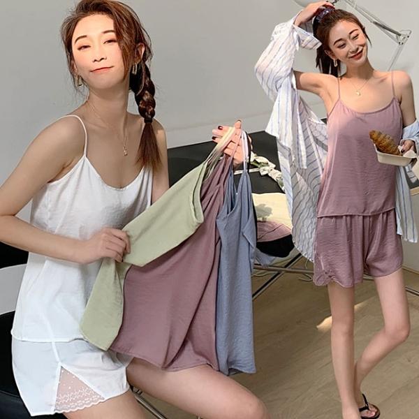 居家服.簡約素色棉麻細肩帶背心+蕾絲拼接短褲.白鳥麗子