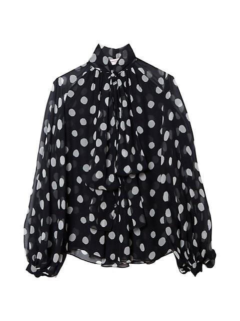 Polka Dot Puff-Sleeve Tieneck Blouse