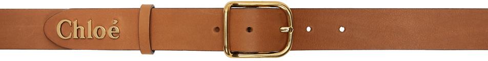 Chloé 棕色 Classic Logo 腰带