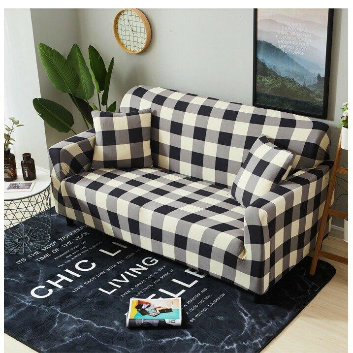 【歐卓拉】日風格紋棉柔彈性沙發套1/2/3/1+2+3人座 萬用 沙發罩 彈性 防滑 全包