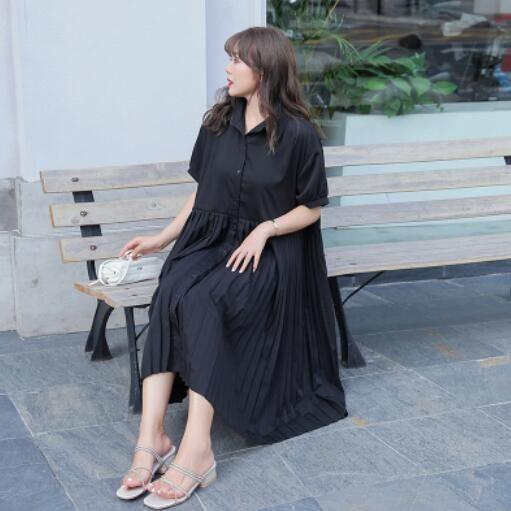 洋裝 短袖 長版裙 XL-3XL棉花糖女生大碼顯瘦襯衫領百褶裙中長款寬鬆顯高連身裙N818-593.愛尚依人
