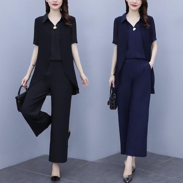 套裝 上衣 長褲 中大尺碼 L-5XL新款大碼女裝時尚減齡兩件套R025-7231.愛尚依人
