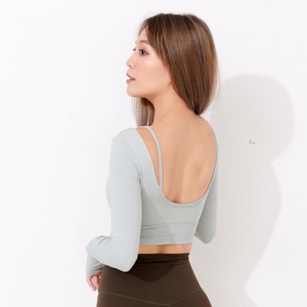 Mori girl U型美背短版上衣(有胸墊) 茉綠