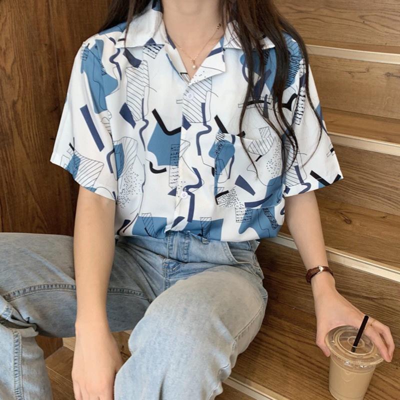 韓版短袖襯衫 女生衣著寬鬆開衫上衣 寬鬆顯瘦夏季減齡ins潮 港風小開衫 打底襯衣上衣