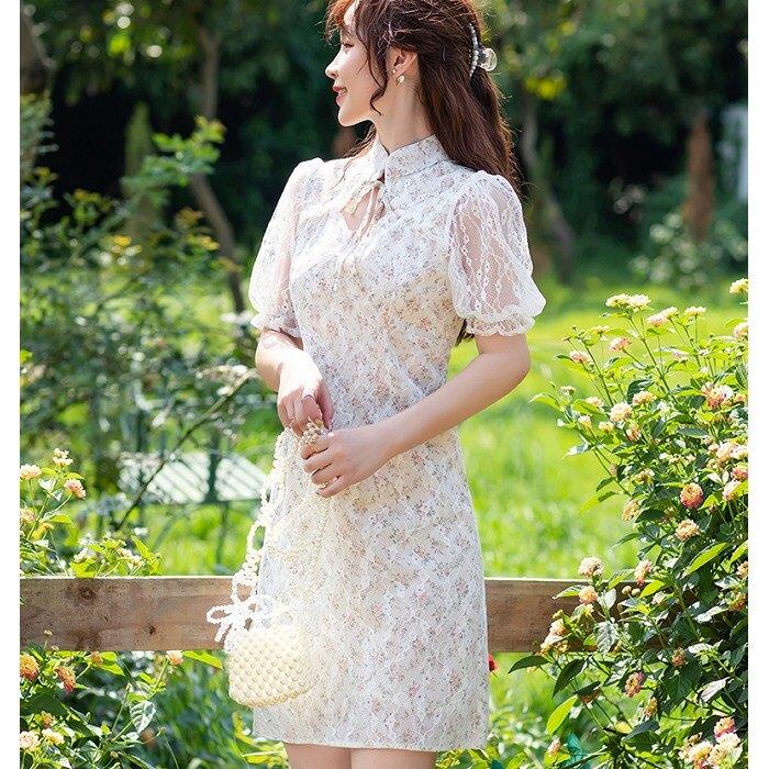 夢幻改良式中國風旗袍洋裝[99213-QF]灰姑娘